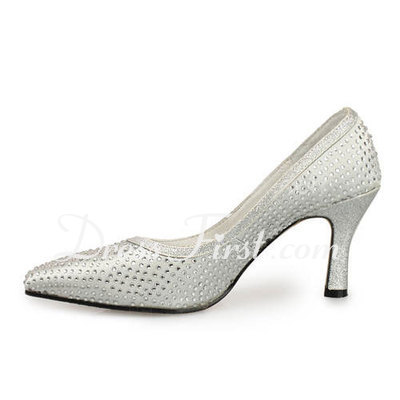Women's Satin Spool Heel Closed Toe Pumps With Rhinestone (047011917)