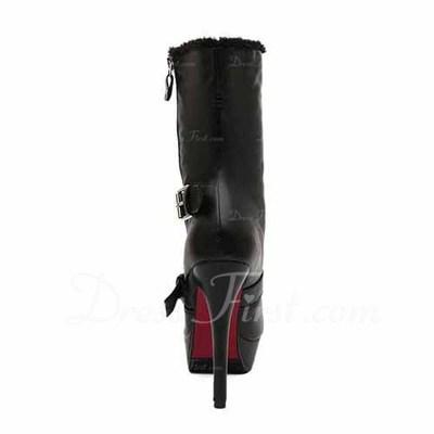 Suni deri İnce Topuk Platform Ayak bileği Boots Ile Toka ayakkabı (088056652)