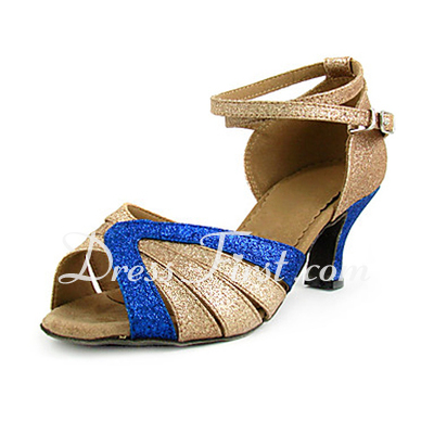Women's Sparkling Glitter Heels Sandals Latin With Ankle Strap Dance Shoes (053013441)