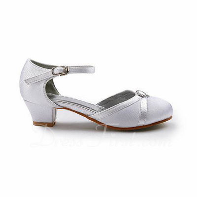 Women's Satin Low Heel Closed Toe Flats With Buckle Rhinestone (047011837)