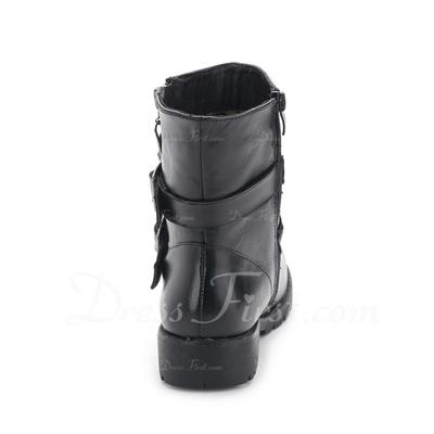 Gerçek Deri Düz Topuk Ayak bileği Boots Ile Toka ayakkabı (088057518)