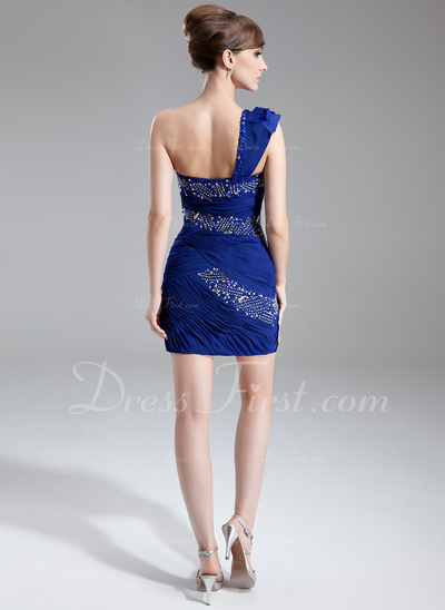 Sheath/Column One-Shoulder Short/Mini Chiffon Cocktail Dress With Ruffle Beading (016008325)
