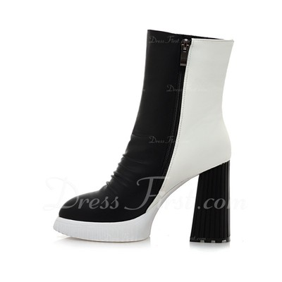 Leatherette Chunky Heel Pumps Closed Toe Ankle Boots With Zipper shoes (088054813)
