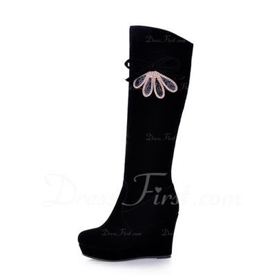 Süet Dolgu Topuk Diz Yüksek Boots Ile Yapay elmas ayakkabı (088057321)