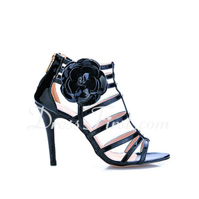Patent Leather Stiletto Heel Sandals Slingbacks With Flower shoes (087016544)