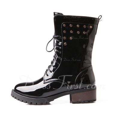 Leatherette Chunky Heel Ankle Boots With Rivet shoes (088054402)
