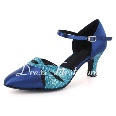 Women's Satin Sparkling Glitter Heels Modern With Ankle Strap Dance Shoes (053021551)