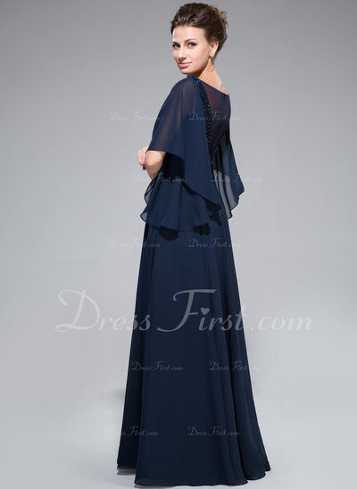 A-Line/Princess Scoop Neck Floor-Length Chiffon Mother of the Bride Dress With Ruffle Lace Beading Sequins (008050135)