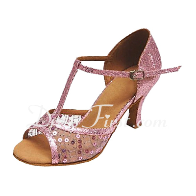 Women's Leatherette Heels Sandals Latin Ballroom With T-Strap Sequin Dance Shoes (053013134)