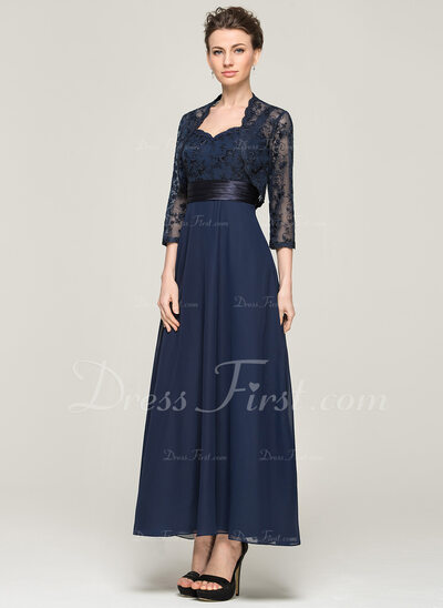 A-Line/Princess Sweetheart Ankle-Length Chiffon Lace Mother of the Bride Dress (008062564)