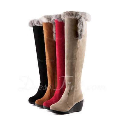 Suede Wedge Heel Knee High Boots Snow Boots With Fur shoes (088057353)