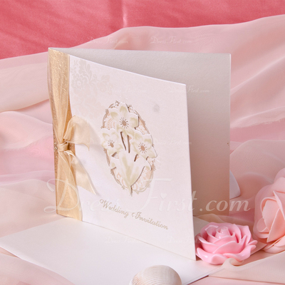 Floral Style Side Fold Invitation Cards With Ribbons (Set of 50) (114033286)