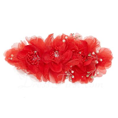 Fashion Rhinestone/Chiffon Flowers & Feathers (042028757)