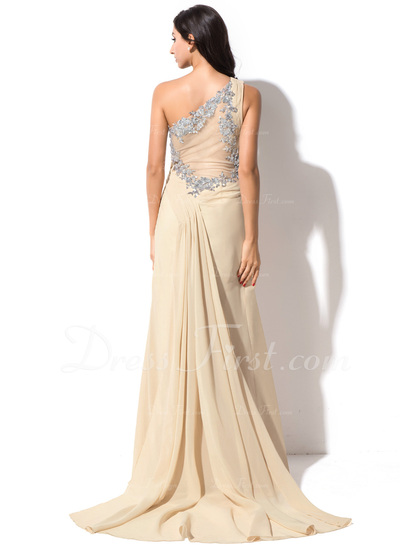 Sheath/Column One-Shoulder Watteau Train Chiffon Evening Dress With Ruffle Sequins Split Front (017055188)