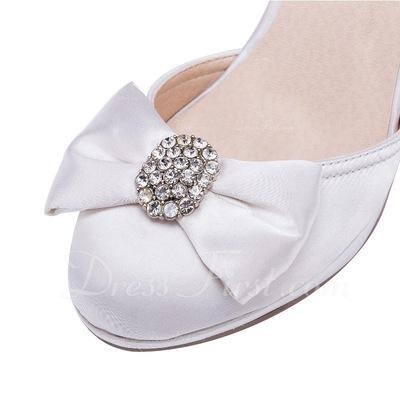 Kadın Satin İnce Topuk Kapalı Toe Pompalar Ile Ilmek Yapay elmas (047056252)