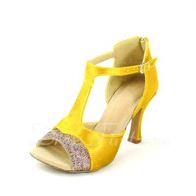 Kadın Satin Topuk Sandalet Latin Ile T-Askı Dans Ayakkabıları (053057166)