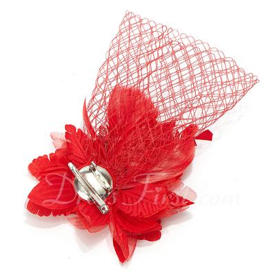 Gorgeous Net Yarn/Feather Fascinators (042028734)