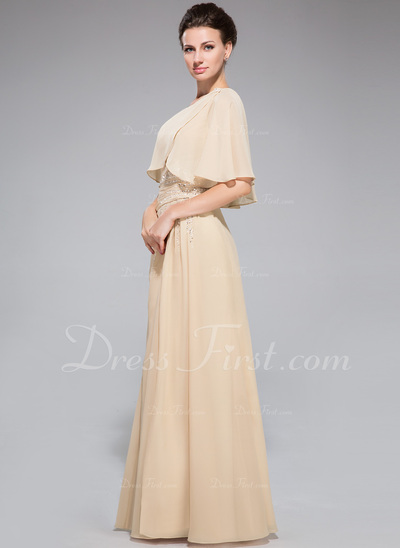 A-Line/Princess One-Shoulder Floor-Length Chiffon Mother of the Bride Dress With Ruffle Beading Sequins Split Front (008042329)