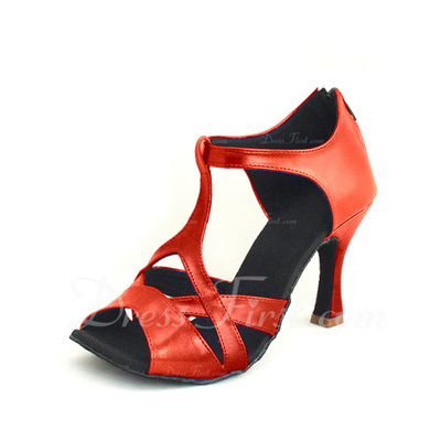 Women's Leatherette Heels Sandals Latin With T-Strap Dance Shoes (053055692)