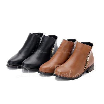 Suni deri Alçak Topuk Ayak bileği Boots Ile Fermuar ayakkabı (088057517)