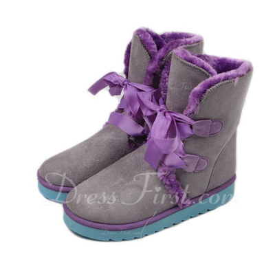 Suede Flat Heel Ankle Boots Snow Boots With Ribbon Tie shoes (088057586)