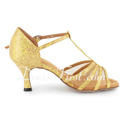 Women's Sparkling Glitter Heels Sandals Latin Ballroom With T-Strap Dance Shoes (053021485)
