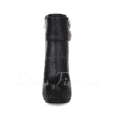 Suni deri İnce Topuk Platform Ayak bileği Boots Ile Toka ayakkabı (088056340)