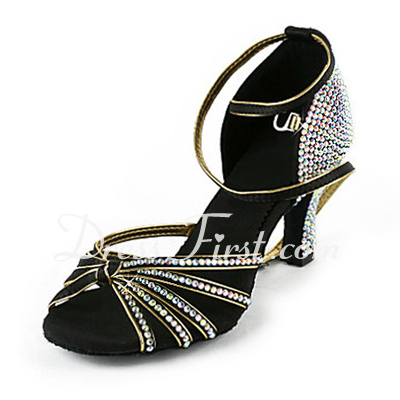 Women's Satin Heels Latin Ballroom Wedding Party With Rhinestone Ankle Strap Dance Shoes (053018502)