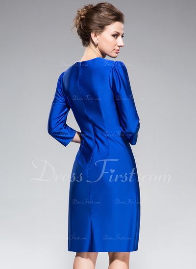 Trumpet/Mermaid Scoop Neck Knee-Length Jersey Mother of the Bride Dress With Bow(s) (008042833)