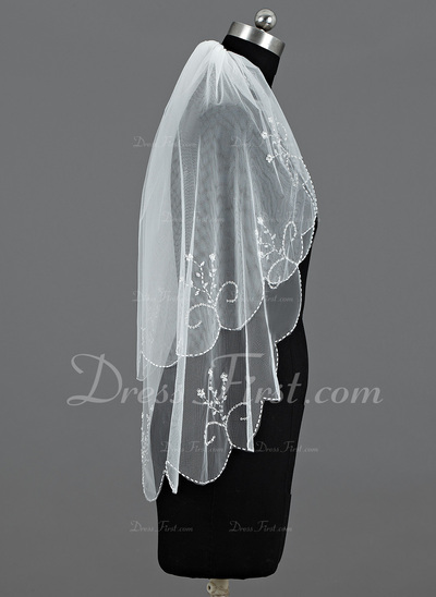 Two-tier Elbow Bridal Veils With Beaded Edge (006034214)