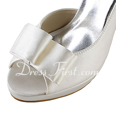 Women's Satin Cone Heel Peep Toe Platform Sandals With Bowknot (047015269)