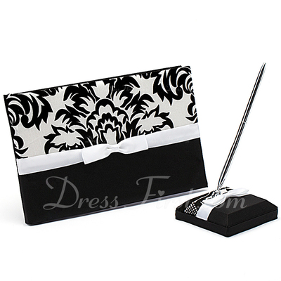 Classic Black & White Bow/Flower Guestbook & Pen Set (101018162)