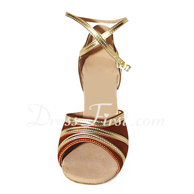 Women's Satin Leatherette Heels Sandals Latin With Ankle Strap Dance Shoes (053013378)