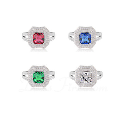 Gorgeous Copper/Platinum Plated With Cubic Zirconia Ladies' Rings (011056013)