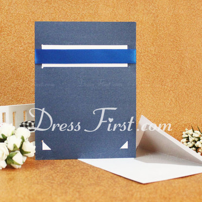 Classic Style Flat Card Invitation Cards With Bows/Ribbons (Set of 50) (114030772)