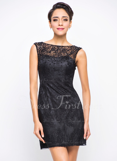 A-Line/Princess Scoop Neck Short/Mini Lace Cocktail Dress With Beading Sequins (016055926)