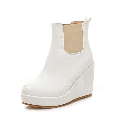 Suni deri Dolgu Topuk Ayak bileği Boots ayakkabı (088056372)