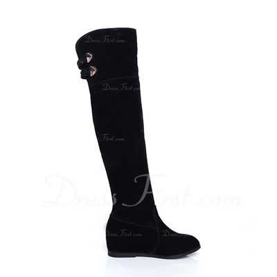 Suede Wedge Heel Knee High Boots shoes (088054459)
