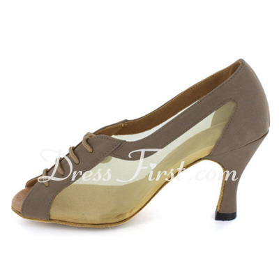 Women's Nubuck Heels Pumps Latin Ballroom Dance Shoes (053022391)