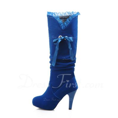 Süet Makara Topuk Diz Yüksek Boots Ile Dantelli ayakkabı (088056347)