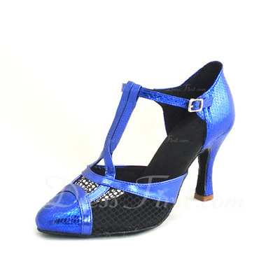 Women's Leatherette Heels Sandals Latin With T-Strap Dance Shoes (053055694)