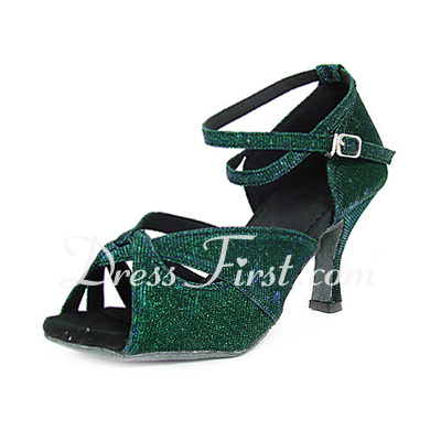 Women's Sparkling Glitter Heels Sandals Latin With Ankle Strap Dance Shoes (053013438)