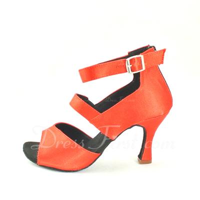 Women's Satin Heels Sandals Latin With Buckle Dance Shoes (053057155)