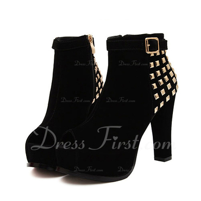 Suede Chunky Heel Peep Toe Ankle Boots With Buckle shoes (088055560)