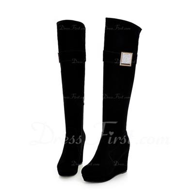 Süet Dolgu Topuk Diz Yüksek Boots Ile Yapay elmas ayakkabı (088057323)