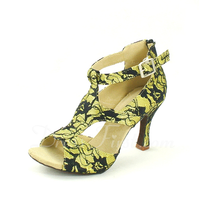 Women's Lace Heels Sandals Latin With Buckle Dance Shoes (053057151)
