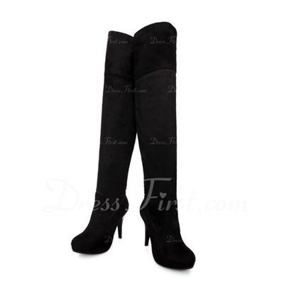 Süet İnce Topuk Pompalar Diz Yüksek Boots ayakkabı (088057483)