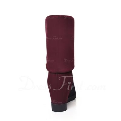 Süet Dolgu Topuk Diz Yüksek Boots ayakkabı (088057241)