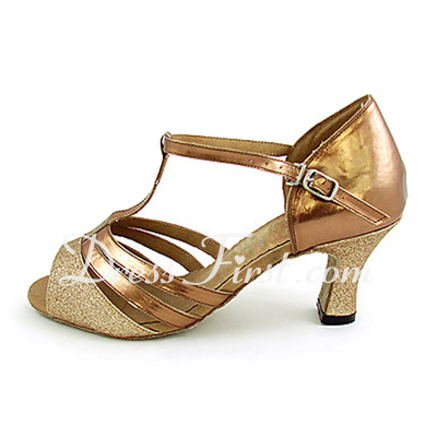 Women's Sparkling Glitter Patent Leather Heels Sandals Latin Ballroom With T-Strap Dance Shoes (053013253)