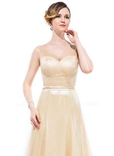 A-Line/Princess V-neck Floor-Length Charmeuse Bridesmaid Dress With Ruffle Bow(s) (007050067)